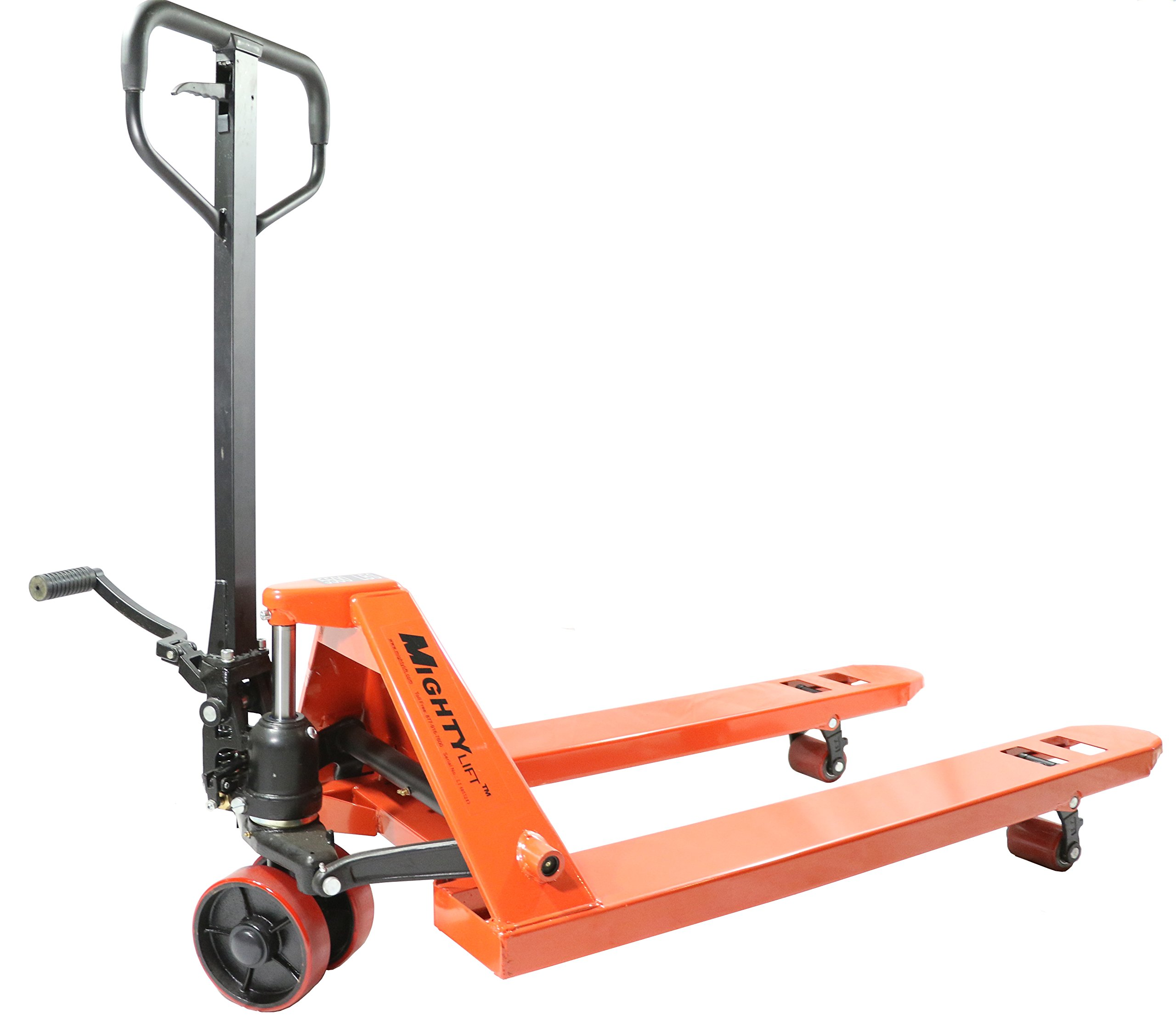 "Mighty Lift ML55E Heavy Duty Pallet Jack Truck with Hand-Actuated Control Lever, Wheels Polyurethane on Steel, 5500 lb. Capacity, 27"" x 48"""