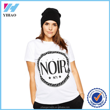 Yihao 2016 best selling Plus Size Letters Print T Shirt white softextile t shirt for women