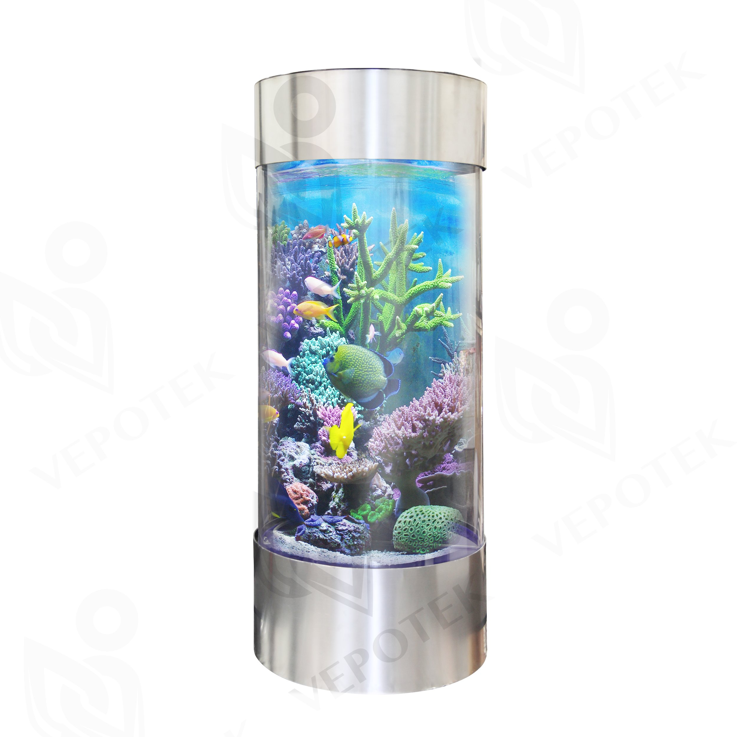Full Acrylic 360 Cylinder Aquarium Tank w/ Stainless Steel Trim 50 Gallons & 70 Gallons