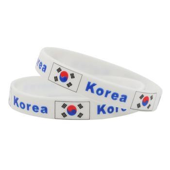 white korea motivational country flags silicone bracelet wristbands