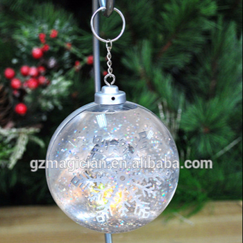 Light Up Snow Flake Ball Glass Icicle Christmas Ornaments Hanging