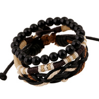 Fashion men charm bead bracelet leather for jewelry men wholesales N8000144