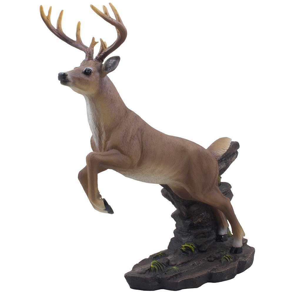 Leaping 12-Point Buck Deer Statue in Rustic Lodge Decor and Decorative Hunting Cabin Wild Animal Sculptures As Gifts for Men, Hunters & Outdoorsmen