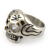 Solid Back Skull Ring with Zircon Eye and Tobacco Pipe in Stainless Steel r004914