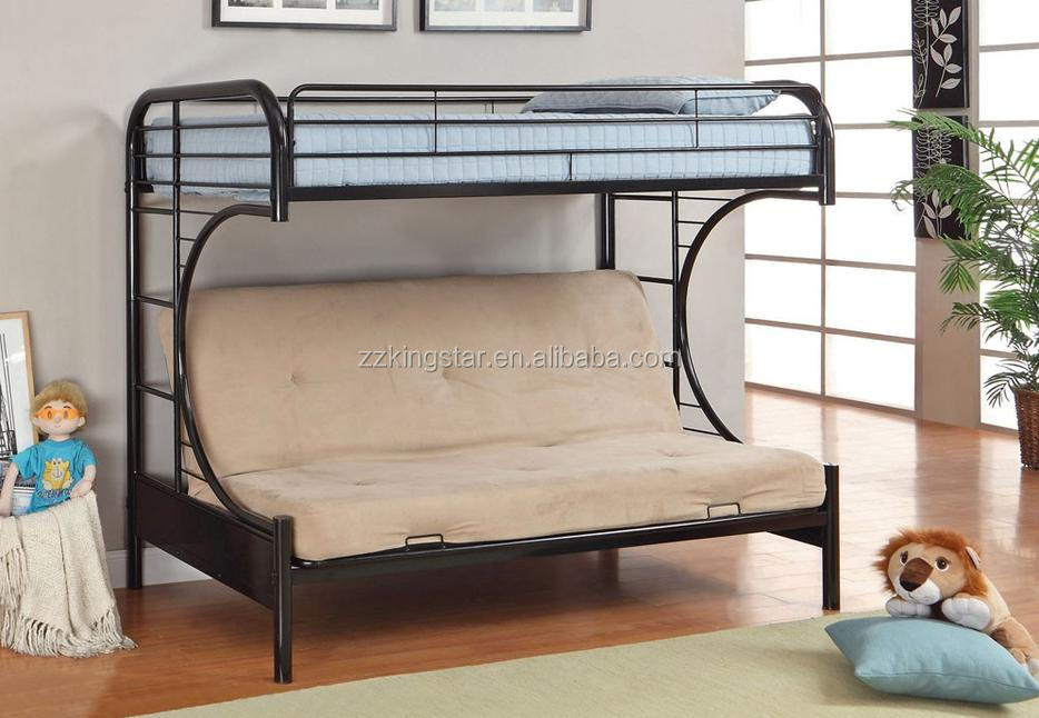 Bedroom furniture black coating steel twin size futon bunk bed
