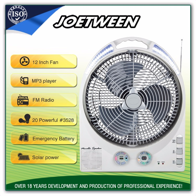 Outdoor exhaust small radiator AC/DC rechargeable electric motor fan with radio solar battery emergency light