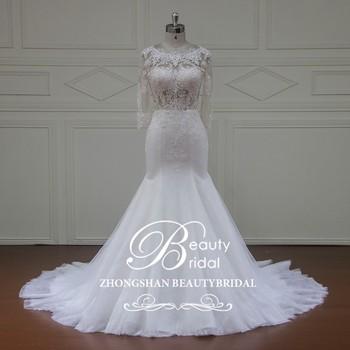 xfm012 sirena en color crema,vestido de novia con espalda abierta