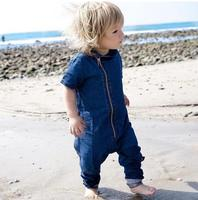 ZH0790F Newborn Infant Baby Boys Denim Bodysuit Front Zipper Romper Jumpsuit Clothes Outfits