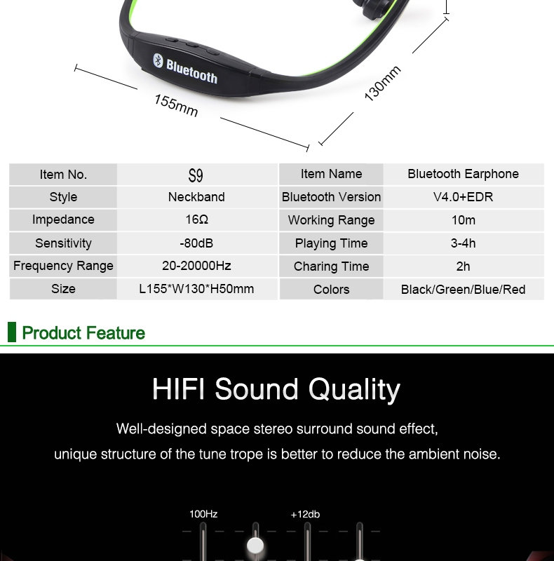 Good feedback s9 sports headset,bluetooth ear phone,wireless bluetooth headphones s9 for wholesales