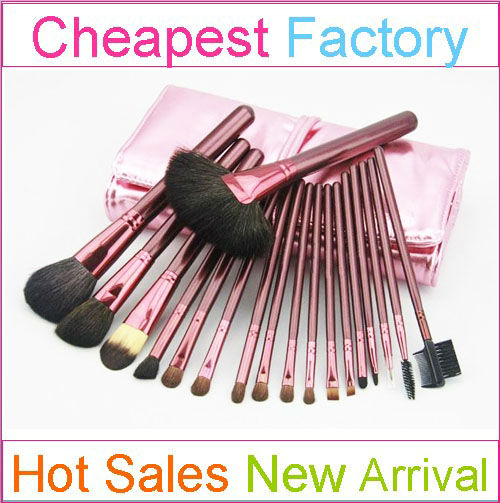 Professional rose gold 18 pcs cosmetic brush set with hot sell makeup brushes quality