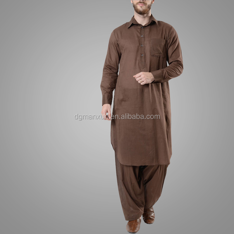 Classical Design Muslim Mens Button opening Basic Cotton Shalwar Kameez Set Fashion Jubba Islamic Men Clothing