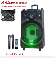 2018 NEW Active trolley rechargeable speaker UF-1151-DT with two wireless microphone