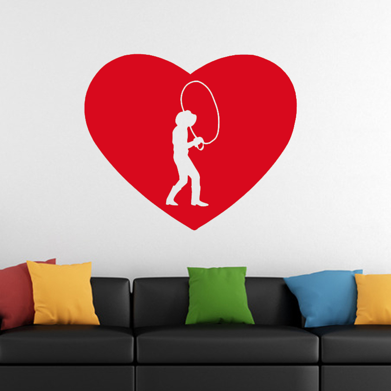 Cool Graphical I Heart Love Country Western Cowboy Vinyl