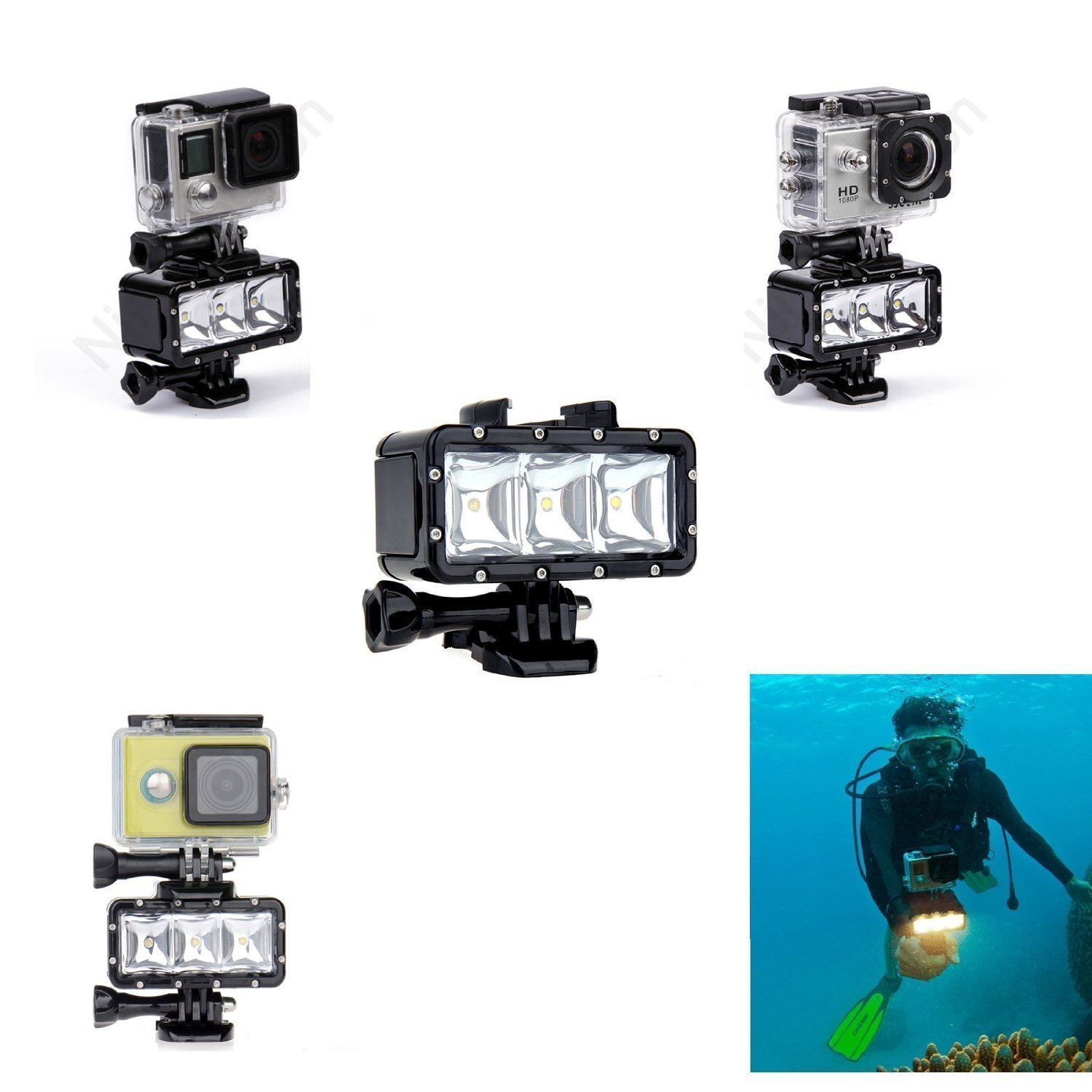 New Waterproof Diving Light High Power Dimmable LED Light Underwater Light For Gopro Hero 4/3+/3/2/SJCAM SJ4000/SJ5000/Xiaomi Yi with 1200mAh Built-in Rechargeable Battery Charging