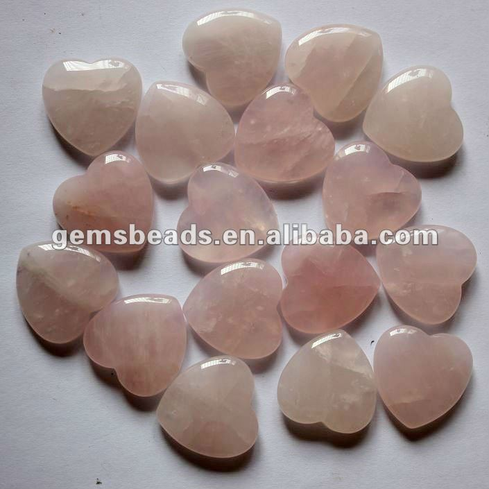 Natural rose quartz 25mm puffy heart for healing crystal