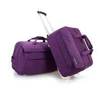 Purple Color Canvas Waterproof Material Leisure Style OEM Bag Factory Durable Wheel Sport Travel Duffle Bag