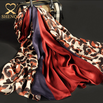 Hign quality Scarfs 2017 women Customized Design Printed georgette satin silk scarf leopard print silk shawl