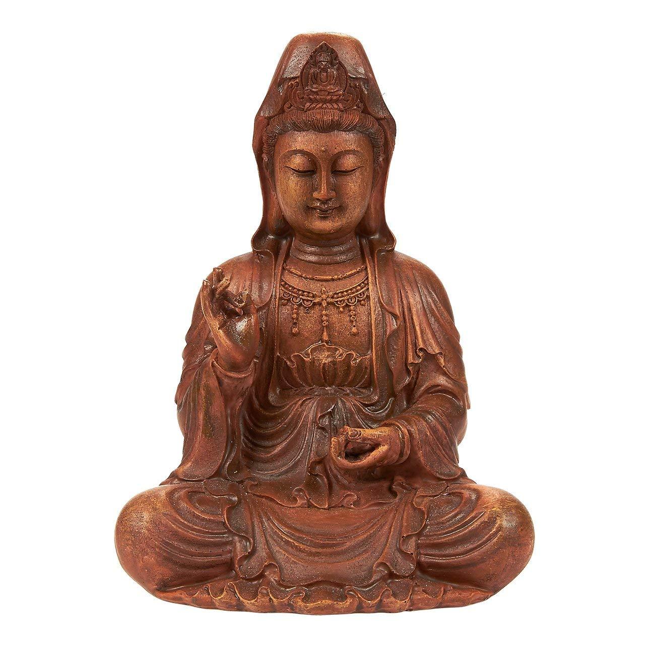 Juvale Kuan Yin Statue - Meditating Buddha Statue Guan Yin Statue Figurine, Small Buddha Statue for Interior Decoration, Good Luck Charm, Brown - 8.7 x 7 x 5.2 inches