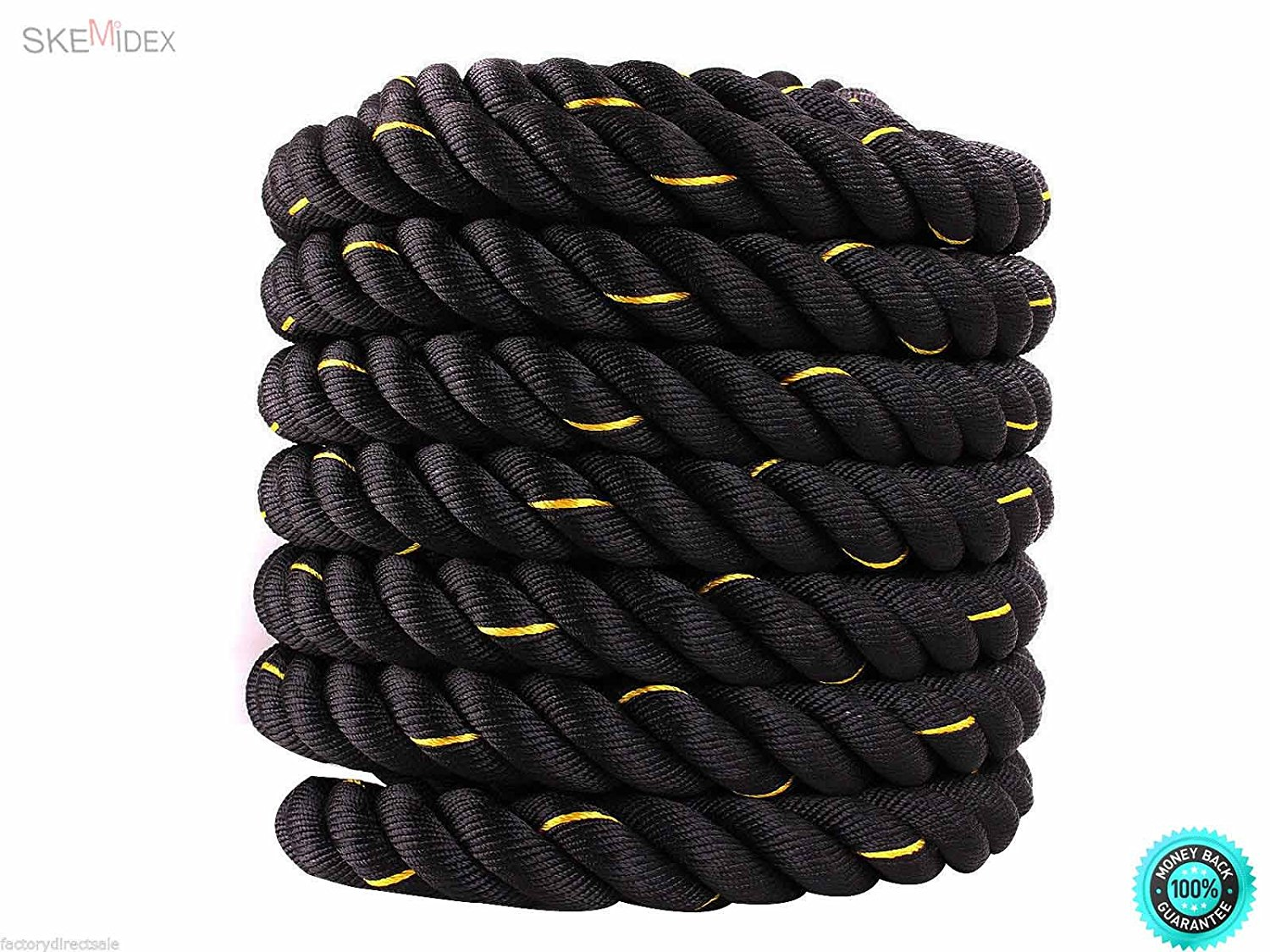 "SKEMiDEX--- 1.5"" Poly Dacron 30' Battle Rope Exercise Workout Strength Undulation This leads to higher cardiac output and oxygen consumption. Our rope will hard to fray, break or come loose."