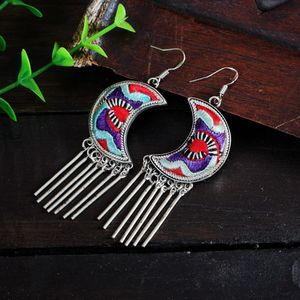 2018 Latest Special Design Beautiful High Quality Gold Plated Natural Gemstone Agate And Wood Beaded Tribal Cuff Earrings