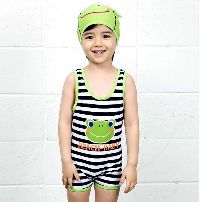 High Quality Kid Boys Frog Printed Swimsuit One Piece Swimwear With Swimming Hat
