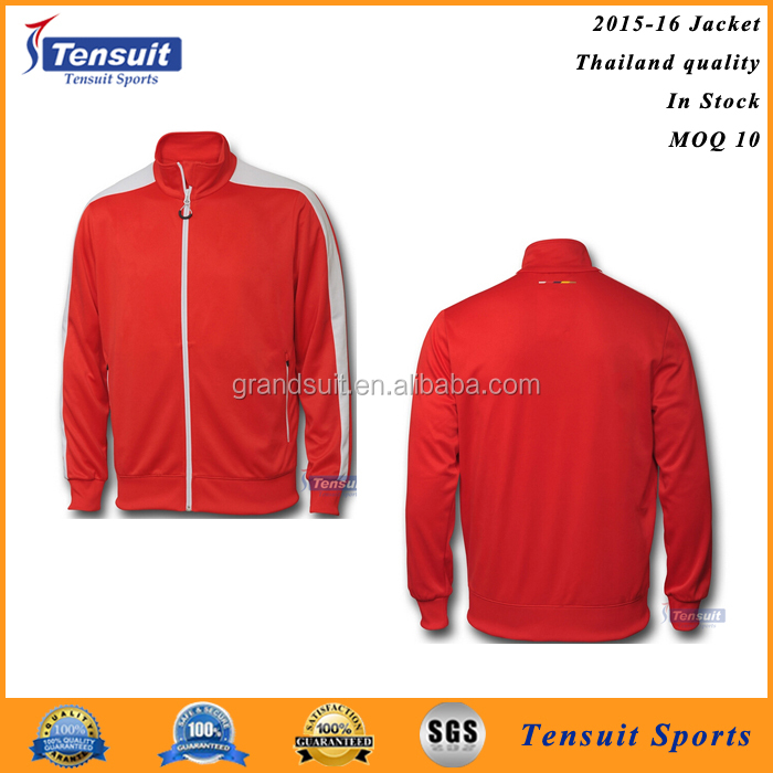 Sports jacket design promotional price red long sleeve warm full zip mens soccer jacket