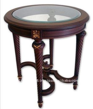 Louis Xv & Xvi Handcrafted Antique Round Wood Coffee Table