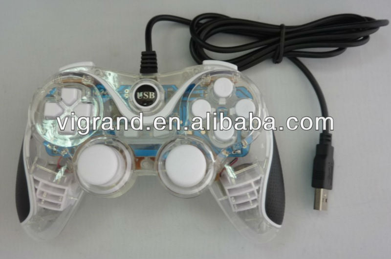 Transparente de pc con cable usb joystick game pad controlador de juego