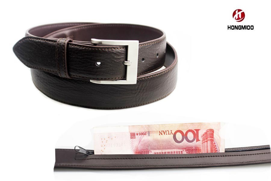 HOT SALE! New Black Hidden Compartment Man's Genuine Leather Money Travel Belt