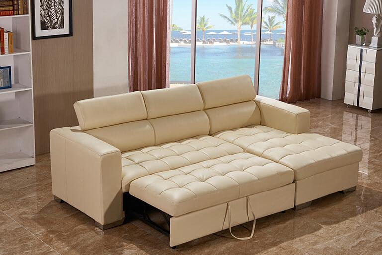 Modern Beige Color Elegant L Shape Sofa Cum Bed Living Room
