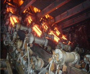 Square steel billet continuous casting and rolling line