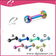 316L Stainless steel anodized jeweled labret with lip piercing jewelry