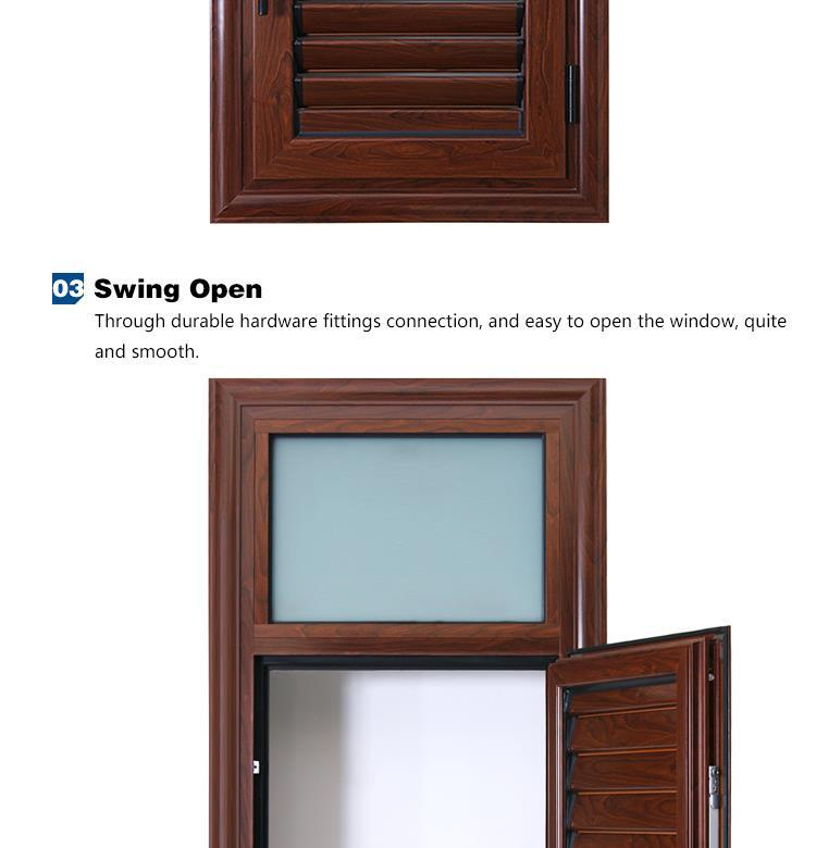 ROGENILAN 2015 Indoor Wooden Grain Louver Shutters Aluminium Bathroom  Window Designs