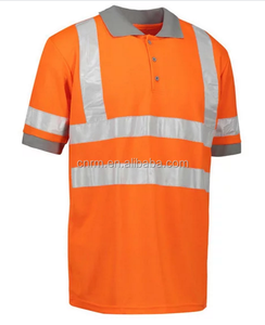 100% Polyester Short Sleeve Style T shirts Orange Reflective Safety Polo Shirtside work