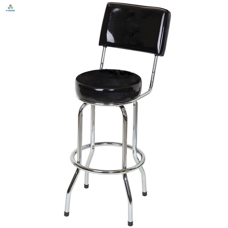 Chrome Legs Round Leather Padded Seat