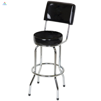 Awesome Swivel Metal Chrome Legs Round Leather Padded Seat Bar Stools With Back Buy Bar Stools With Back Metal Swivel Bar Stool Leather Back Bar Stool Ncnpc Chair Design For Home Ncnpcorg