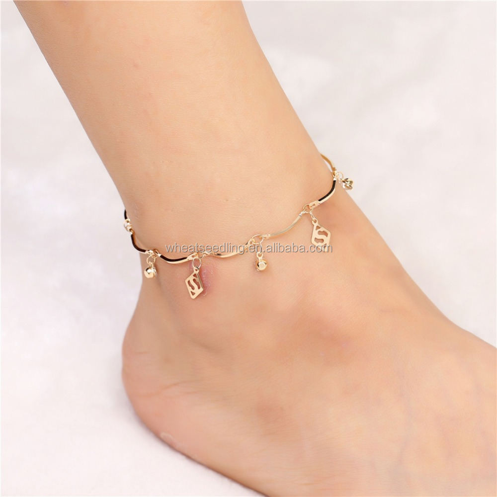 Simple Korean style hollow Diamond Beads letters bell rose gold Anklet double female wholesale