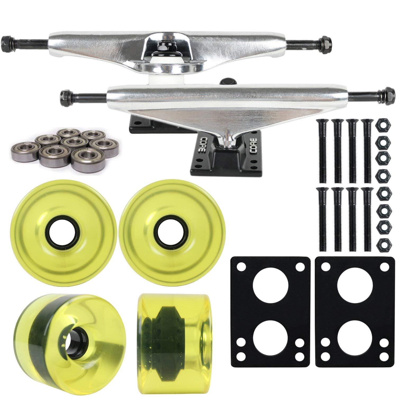 "Longboard Skateboard Trucks Combo Set 76mm Blank Wheels with Silver Trucks, Bearings, and Hardware Package (76mm Translucent Yellow Wheels, 7.0 (9.63"") Silver Trucks)"