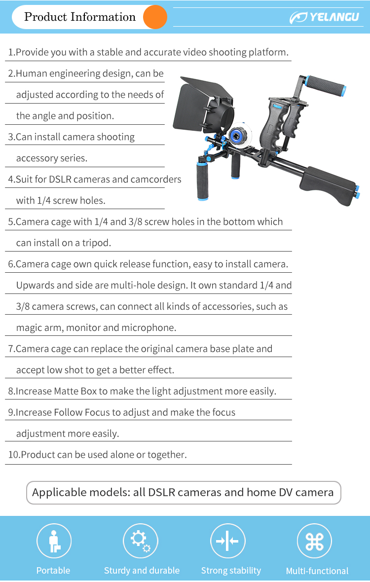 YELANGU Promotional DSLR Rig + Camera Cage + Follow Focus + Matte Box for Nikon Pentax Canon 5D Mark II 7D 60D Panasonic GH5