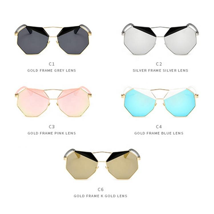 Free Sample 2019 Fashion Wholesale Metal Sunglasses for Women Mirror Lens