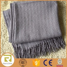 Wholesale 80% Acrylic 20% wool repeated square jacquard fringed super soft shawl scarf