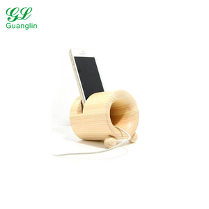 Wood round lovely phone holder with cell phone speaker