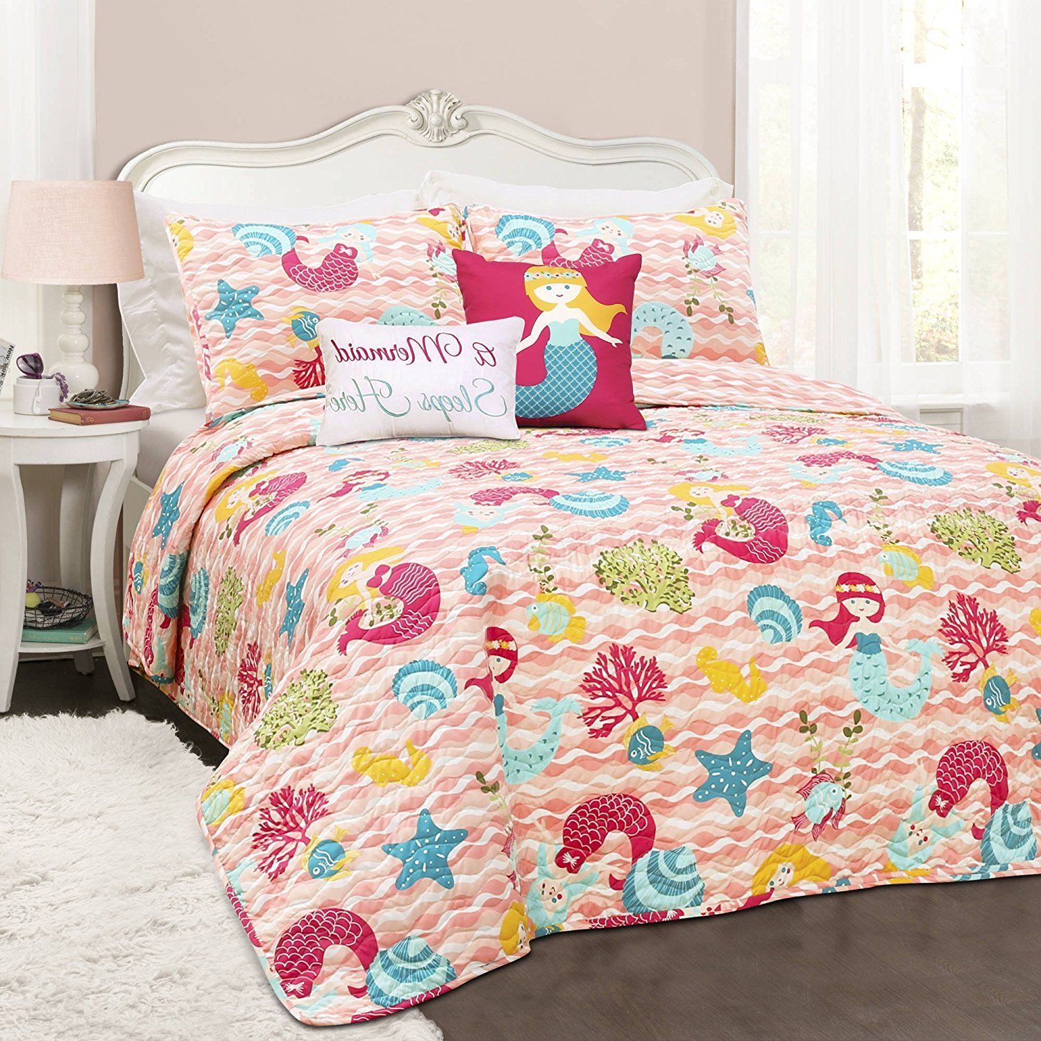 4 Piece Kids Girls Pink Red Blue Green Yellow Twin Quilt Set, Mermaid Themed Reversible Bedding Waves Bright Coral Sea Shell Chic Ocean Cute Adorable Stylish Fun Sweet Pretty Elegant, Polyester