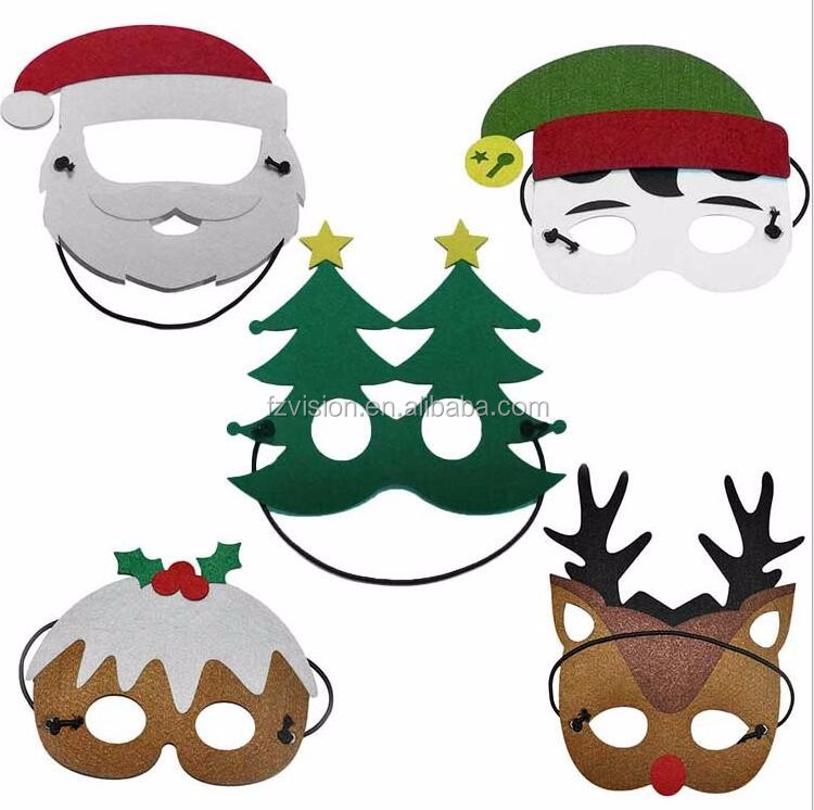 Cheap Masquerade Hot Felt Party Mask for kids Christmas Santa Claus Mask