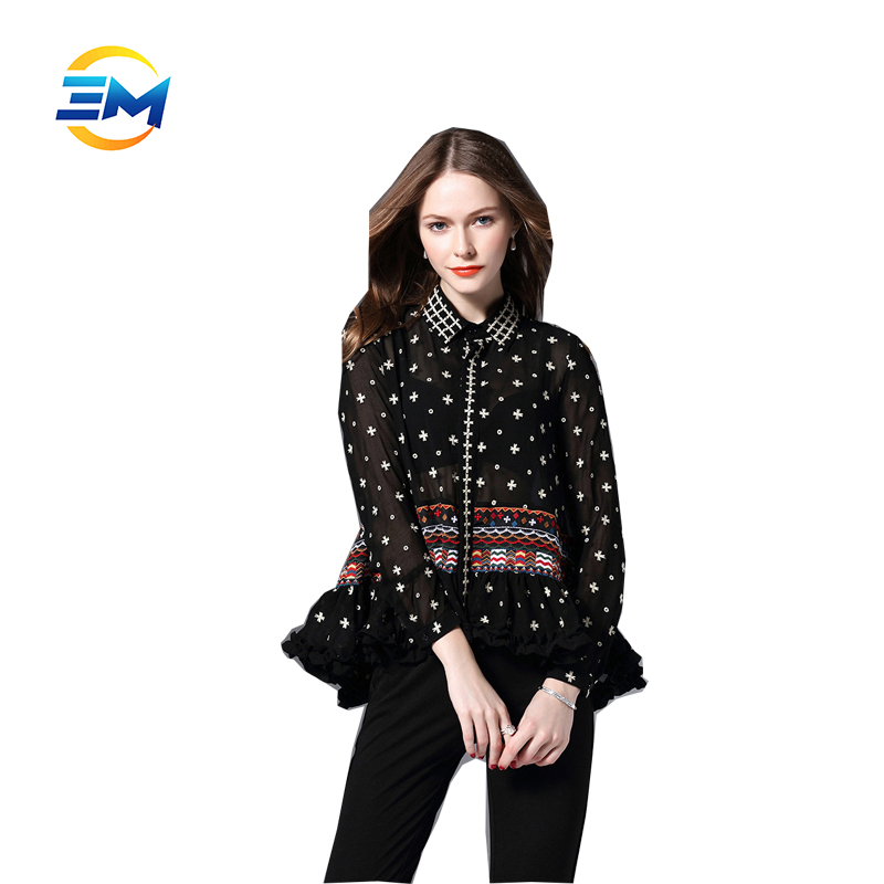 OEM saree blouse designs latest long sleeve embroidered shirt umbrella flounce silk blouse