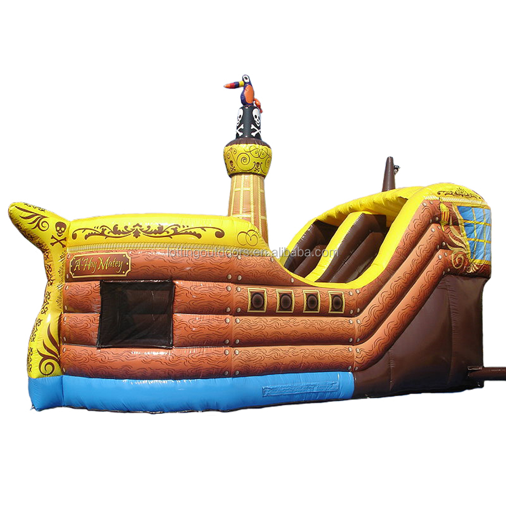 NEW STYLE yellow pirate ship playground Inflatable slide for kids