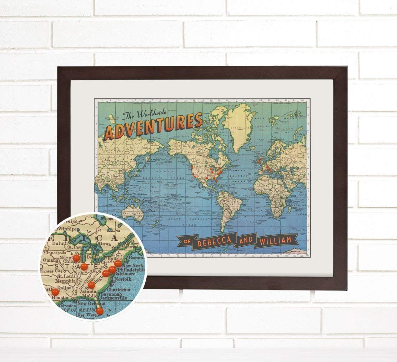 "Personalized ""Worldwide Adventures"" Travel Push Pin Map Art"