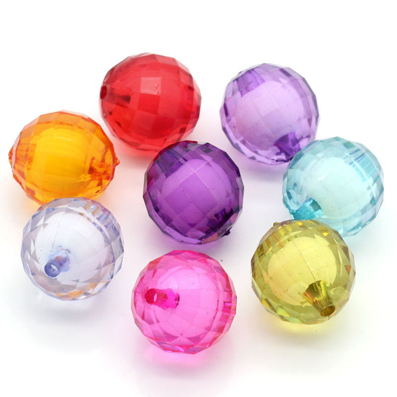 100pcs/lot Chunky Gumball Bubblegum Faceted Bead in Bead Acrylic Clear Chunky Beads for Necklace 20mm
