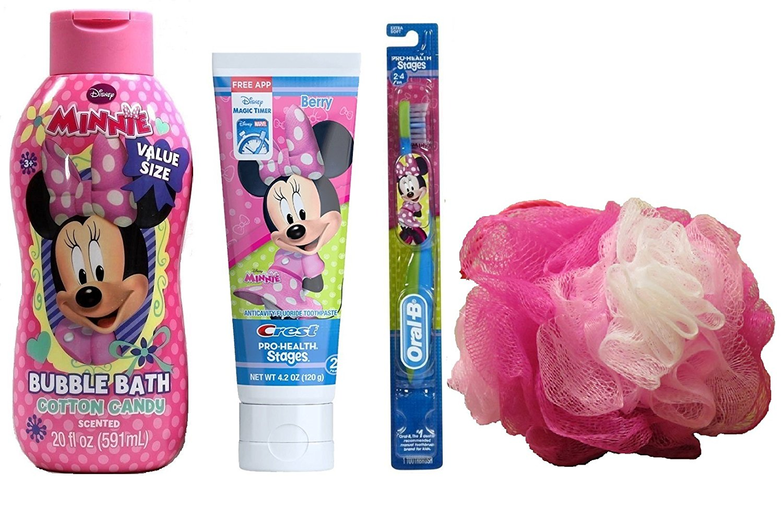 Disney Minnie Mouse Bubble Bath Set 20 fl 0z + Minnie Mouse Shower Gel Shampoo Conditioner 14 fl 0z + Minnie Mouse Berry Toothpaste + Toothbrush and Body Bath Sponge (4pcs)