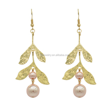 Newest simple pink pearl dubai gold earrings tops design